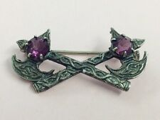 VINTAGE STERLING SILVER & AMETHYST GLASS DUAL AXE BROOCH PIN 1960