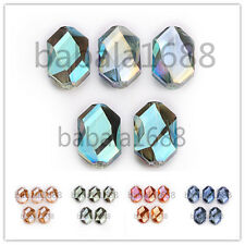 18x12mm Faceted Glass Crystal Oval Hexagon Loose Spacer Beads Findings 11 Colors