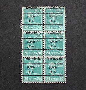 USA - 1955 SCARCE 20c ALBANY PRECANCEL BLK6 UNUSED MINT MIS-O/P RR