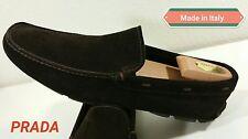 sz 9 US / 8 Prada Logo Slip on Brown suedeLeather Driving Loafer MEN Dress Shoes
