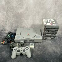 Sony PlayStation 1 PS1 SCPH-7502 Console & Official Controller + 10 Game Bundle