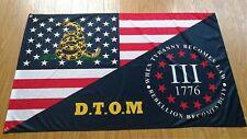 D.T.O.M 3% Iii Percenter Tyranny Usa Flag 110g knitted Heavy Duty Flag 3 x 5 Ft