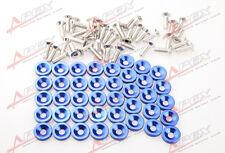 40 PC BLUE BILLET ALUMINUM FENDER/BUMPER WASHER/BOLT ENGINE BAY DRESS UP KIT