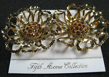 Butler Fifth Avenue Collection FAC Genuine Austrian Crystal Clip Earrings Gold