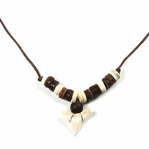 Shark Tooth Adjustable Brown Cord Necklace Pendant Unity Peace Hawaii Bob 18/30""
