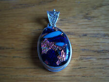 HUGE STERLING SILVER .925 PENDANT UNIQUE GORGEOUS WITH HANDMADE GLASS STONE
