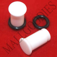 1305 White Acrylic Single Flare 2 Gauge 2G Plugs 6mm MallGoodies 1 Pair