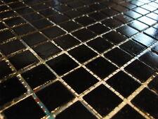 glasmosaik mosaik fliesen bad pool dusche schwarz 1 qm - netzverklebt