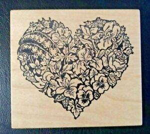 PSX K-663 FLOWER HEART Pansy Iris Lily Bleeding Hearts RUBBER STAMP Wooden Mount