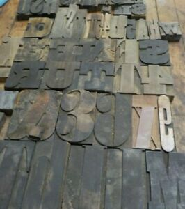 "Antique Printing Press Wood Block Letters Lot of 50 / Multiple Sizes 5 3/4"" - 2"""