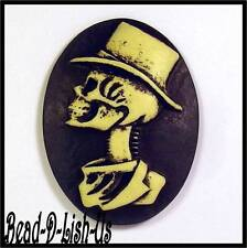 2 x Day of the Dead GentleMan Tattoo Cameo 40x30mm Gothic Rockabilly Cabochon