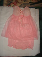 Vintage Unique Set Pink Sheer Nylon Lace Baby Doll Short Slip Panty Panties 36