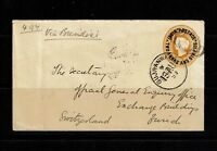 India 1893 2a 6p Seapost Cover to Switzerland - Lot 092417