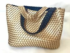 Ladies Italian Reversible Beach/Casual Bag Black Gold White-Made in Italy