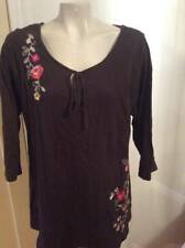 PLUS SIZE 1X TUNIC BROWN EMBROIDERED FLORAL 3/4 SLEEVE