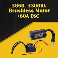 3660 2600/3300KV Brushless Sensorless Waterproof Motor+ESC For 1/8 RC Dirft Car