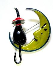 Moon Glows Witch Cat & Moon Enamel Brooch Pin 2005 Friends Incorporated  1 3/4""