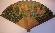 Ladies FAN Antique 1860's Chromo Litho Oversized Woman See Saw Gardens Colorful
