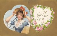 Winsch Valentine Girl In Heart Holds on to Poppy Hat~Wheat Field~Gold Back Embos