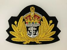 Britain/British Royal Navy RN Officers WWII style wire embroidered cap badge