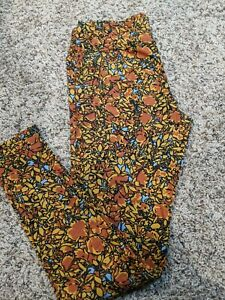 LuLaRoe Leggings Tall and Curvy yellow and orange floral NWT