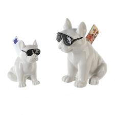 1 x Spardose Cool Dog Porzellan weiß glasiert Höhe 12 cm, Sparschwein, Geld