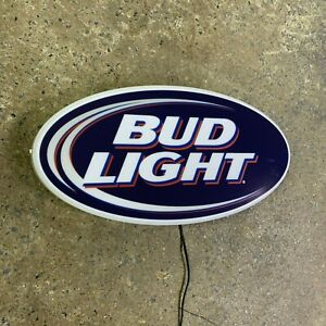 BUD LIGHT Light up LED bar sign logo Pub Beer Lager man cave garage home decor