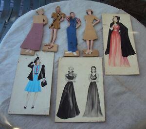 Lot of 7 1950's Fashion Design Drawings Model Sternberger Philadelphia Inquirer