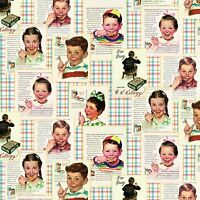 Kelloggs Vintage Boy Girl Kids Eating Corn Flakes Breakfast Cereal Cotton Fabric