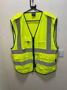 Superior Retro Hi Vis Yellow Hi Vis Vest with Eppaulettes