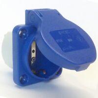 Einbausteckdose, Schukosteckdose, Schuko-Steckdose IP54 blau PCE 105-0b