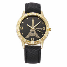 Ladies Fashion Gold Tone Eiffel Tower Black Faced Quartz Black Band Wrist Watch.