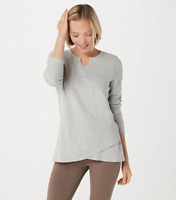 Denim & Co. Active Waffle Knit Long-Sleeve Top w/ Seam Details - Grey - Medium