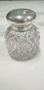 antique London silver 1895 lid round diamond shaped glass inkwell