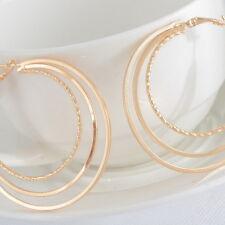 JP 1Pair Earrings Hoop Dangle Drop Vogue Three Layers Jewelry Light Golden