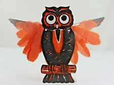 Vintage Japanese Diecut Halloween Owl with Extendable Crepe Paper Wings