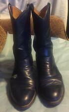 Nocona Navy Leather Round Toe Western Cowboy Boots Wildflower 6C Made USA Floral