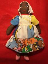Vintage Hand Sewn Miss Jamaica Cloth Folk Art Doll with Nintendo Dress