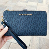 Michael Kors Jet Set Double Zip Wristlet Phone Wallet Admiral Blue MK