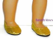 Gold Glitter Slip On Shoes 18 in Doll Clothes Fits American Girl