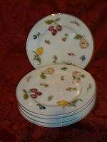 "GEORGES BRIARD ""GARDEN OF EDEN"" 5 PORCELAIN 7.25"" SALAD OR APPETIZER PLATES"