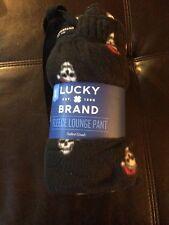Nwt Lucky Brand Mens Small Pajama Pants Fleece Lounge Pant Black Santa Skull T2