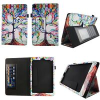 Tree Pattern Fit for Kindle Fire HD 8 inch Tablet Case Cover ID Slot Sleep Wake