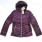 NEW MICHAEL KORS VIOLET PURPLE DOWN PUFFER CHEVRON QUILTED PACKABLE JACKET COAT