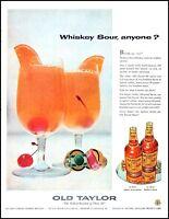 1956 Old Taylor whisky distillery glasses bottle vintage photo Print Ad  adl31