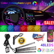 4in1 48Led Rgb Car Auto Interior Atmosphere LightS Strip Bt App Music Control Us (Fits: Neon)
