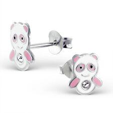 925 Sterling Silver Children's Kids Girls Panda Ear Studs in Free Gift Box
