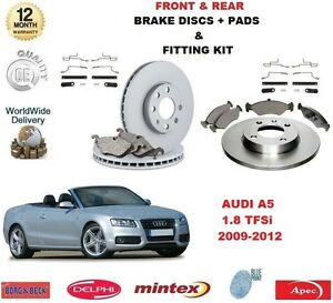 FOR AUDI A5 1.8 TFSI 2009-2012 FRONT + REAR BRAKE DISCS PADS with FITTING KITS