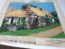 Vintage Cottage Floral Garden Completed Needlepoint Coats & Anchor