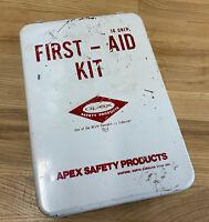 Vintage Wall Mount Metal Used Patina First Aid Kit Metal Box Apex 9 x 7 x 2.5